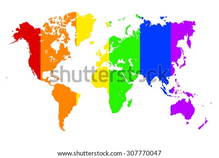 Royalty Free Stock Illustration Of Rainbow World Map Illustration