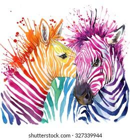 Rainbow Zebra. watercolor illustration. wild animals. african nature. fashion design. exotic wildlife.