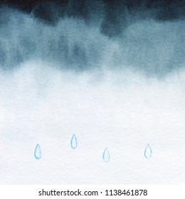Raindrops moody rainy sky. Abstract watercolor free hand drawn illustration for wrapping, background, textile