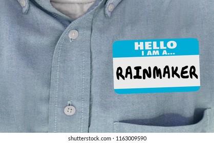 Rainmaker Top Sales Seller Performer Name Tag 3d Illustration