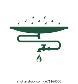 Rainwater harvest and reuse system. Abstract concept, icon. Flat design. Raster illustration on white background.
