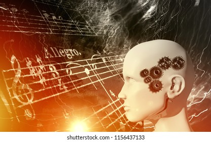 Raise of the machines in music - artificial intelligence, robot, cyborg concept, 3D image