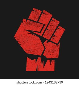 Raised fist, sign of protest or fight, angry hand gesture illustration