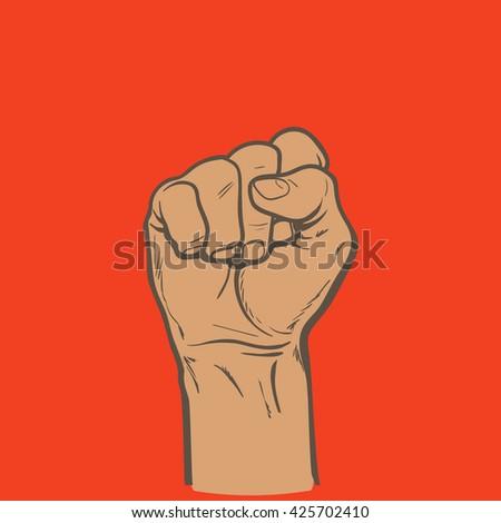 Raised Fist Symbol Power Authority Good Stock Illustration 425702410