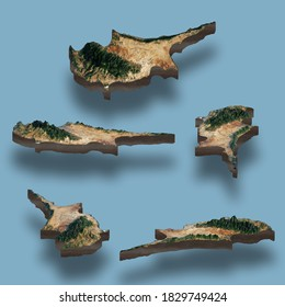 Raised relief maps of Cyprus Island 3D render illustration