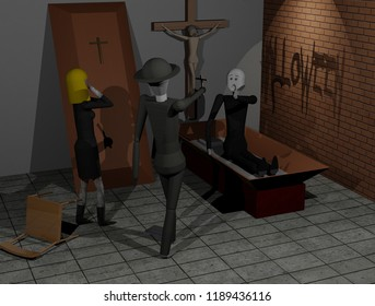 Raising a dead man on a Halloween scene (3D rendering)