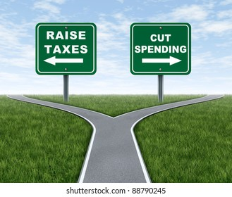Raising taxes or cutting spending dilemma for government political choice as a symbol or metaphor of a cross roads with grass and sky as a difficult election policy as challenging economic issues.