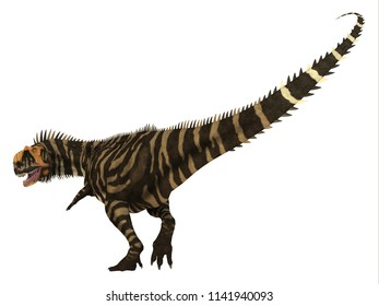 Rajasaurus Dinosaur Tail 3D illustration - Rajasaurus was a carnivorous theropod dinosaur that lived in India during the Cretaceous Period.