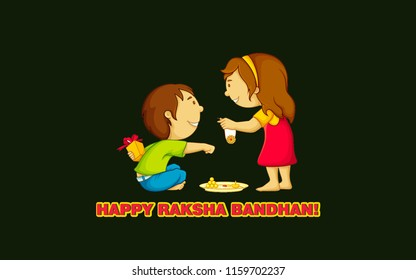 Raksha Bandhan is a festival of the Indian subcontinent and centred around the tying of a thread on the wrist as a form of bond and ritual protection. Illustration of sister tying to brother
