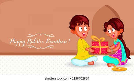 Raksha Bandhan is a festival of the Indian subcontinent and centred around the tying of a thread on the wrist as a form of bond and ritual protection. Illustration of gift sharing brother and sister