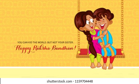 Raksha Bandhan is a festival of the Indian subcontinent and centred around the tying of a thread on the wrist as a form of bond and ritual protection. Illustration of sister tying rakhi to brother