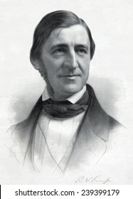 Ralph Waldo Emerson (1803-82) from an original drawing by Sam W. Rowse, ca.1845.