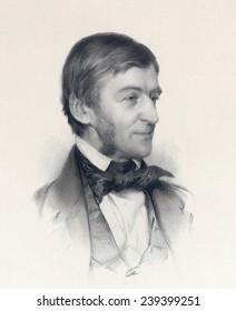 Ralph Waldo Emerson (1803-82) writer who espoused Transcendentalism, ca.1878