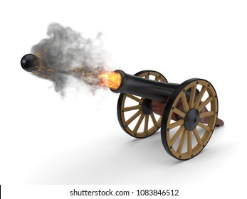 ramadan cannons shot moment. 3d illustration