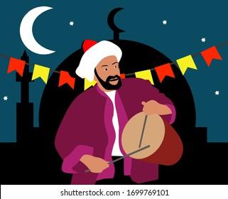 ramadan celebration card ramadan drummer mesaharaty