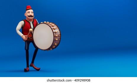 ramadan drummer with drum 3d render -blue background