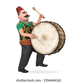 ramadan drummer and drum 3d rendered