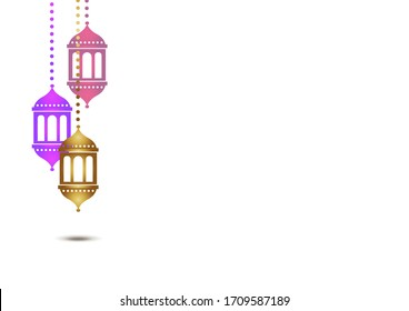 Ramadan Eid fast holy month greeting template copy space festival lights religious islamic background