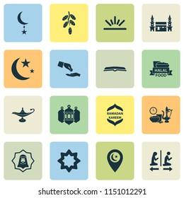 Ramadan icons set with worship, kareem, rub el hizb and other octagonal star elements. Isolated  illustration ramadan icons.