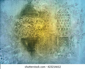 Ramadan islamic muslim oriental Background abstract artistic painting of mosque windows with arabic arabesque pattern, eid lantern and arabic calligraphy. Greeting card or wallpaper background.