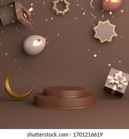 Ramadan kareem background, Islamic product display mock up on brown. Podium, crescent moon, gift box, ballon, eid fitr adha, mawlid, isra miraj, copy space text area, 3D rendering illustration.