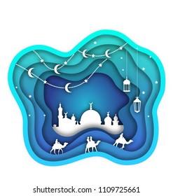 Ramadan Kareem Background, Mosque, Lanterns, Moon, Camels. Islamic Design, Cut Paper Template