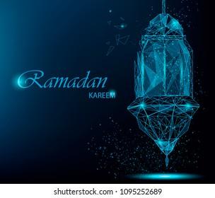 Ramadan Kareem bright greeting card with traditional Arabic lantern. Polygonal art on blue background. Usable for Eid Mubarak. Stock raster illustration