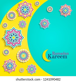 Ramadan Kareem card with moon. Islamic greeting card. Arabic holidays design. Round elements,flowers. Floral pattern with text. Traditional islam fasting decoration. Elegant arabian background