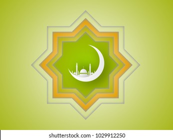 Ramadan Kareem and Eid Fitr concept. Illustration of mosque, moon and islamic geometry on green background. Paper cut style.