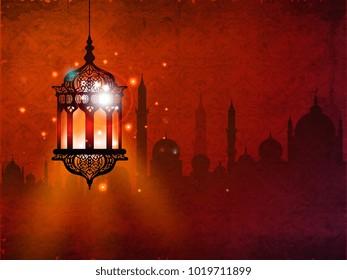 Ramadan kareem eid mubarak colorful lanterns label symbol background