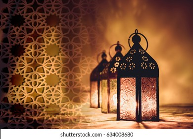 Ramadan Kareem  Eid Mubarak  - islamic muslim holiday background with eid lanterns or lamps