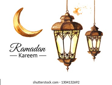 Ramadan Kareem greeting card with lanterns and Crescent. Watercolor hand drawn illustration, isolated on white background