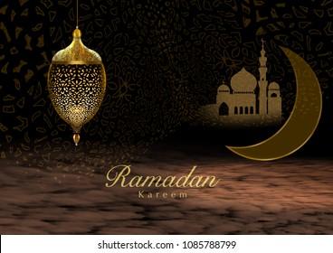 "Ramadan Kareem Greeting Card with unique lanterns. Translation: ""Ramadan Kareem is Happy & Holy Ramadan,  a month of fasting for Muslims."