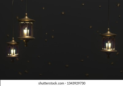 Ramadan Kareem greeting template with arabic lantern on a dark background with stars. 3d render illustration with copy space.