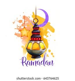 Ramadan Kareem holiday greeting card design. Symbols of Ramadan Mubarak: Ramadan Lantern, Crescent, Star. Digital art illustration with colorful paint splash background. Graphic clipart for web, print - Shutterstock ID 643764625