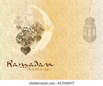 Ramadan Kareem - islamic muslim holiday background or greeting card, with ornamental arabic oriental background and calligraphy, with eid holiday lanterns or lamps, vintage