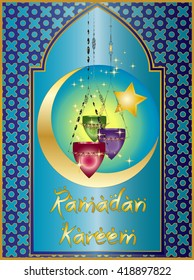 Ramadan Kareem - islamic muslim holiday background or greeting card, with ornamental arabic oriental window and calligraphy, with colorful eid holiday lanterns or lamps