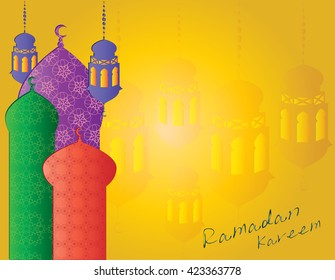 Ramadan Kareem - islamic muslim holiday background or greeting card, with ornamental arabic oriental windows or mosque minarets and calligraphy, with colorful eid holiday lanterns or lamps