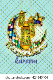 Ramadan Kareem - islamic muslim holiday background or greeting card, with ornamental arabic oriental arabesque decorations, and eid holiday lanterns fanous, abstract artistic color splash grunge.