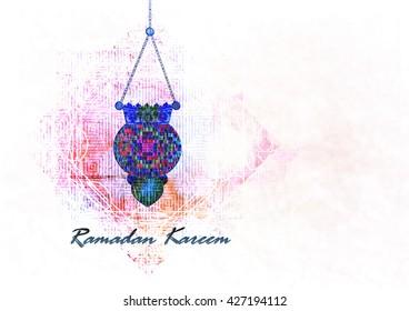Ramadan Kareem - islamic muslim holiday background or greeting card, with ornamental arabic oriental background, with eid holiday fanous lanterns, abstract artistic vintage textured style