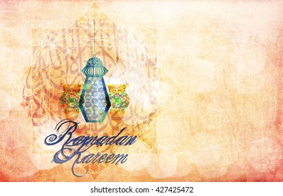 Ramadan Kareem - islamic muslim holiday background or greeting card, with ornamental arabic oriental background, with eid holiday fdanous lanterns, abstract artistic vintage textured style