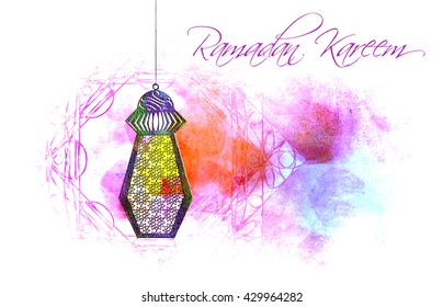Ramadan Kareem - islamic muslim holiday background or greeting card, with ornamental arabic oriental calligraphy, and eid holiday lanterns or lamps, abstract artistic watercolor splash grunge.