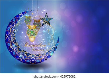 Ramadan kareem - muslim islamic holiday celebration greeting card or wallpaper with golden arabic ornaments, calligraphy, crescent with a star and eid fanous lantern