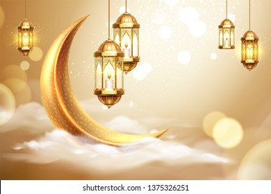 Ramadan kareem or ramazan mubarak greeting with fanous or lantern and crescent on cloud. Islam month of fasting. Background for arabic holiday sign or poster. Eid al-fitr and al-adha. Religion theme