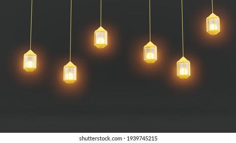 Ramadan lanterns theme in dark background. 3D illustration of eid mubarak event