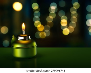 Ramadan Oil Lamp with lights in background