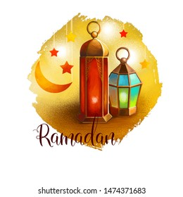 Ramadan Ramazan, Ramzan, Ramadhan, or Ramathan lamp and crescent moon and stars isolated digital art illustration. Greeting card design, t-shirt print postcard web design and invitation template