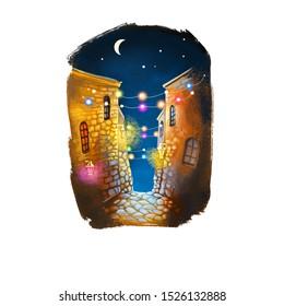 Ramadan Ramazan, Ramzan, Ramadhan, or Ramathan ninth month of Islamic calendar, Muslims fasting sawm, prayer, reflection and community. Crescent moon, buildings and lights, houses digital illustration