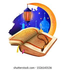 Ramadhan or Ramathan Ramadan Ramazan, Ramzan isolated kareem holy book, beads and mosque silhouette, crescent moon. Muslims month fasting sawm, prayer, community digital art illustration, web print