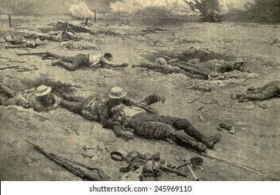 R.A.M.C. (Royal Army Medical Corps) bringing in wounded from No Man's land after a battle. In many cases, rescue of the wounded could only be done at night. Drawing by F. Matamoa ca. 1914-18.